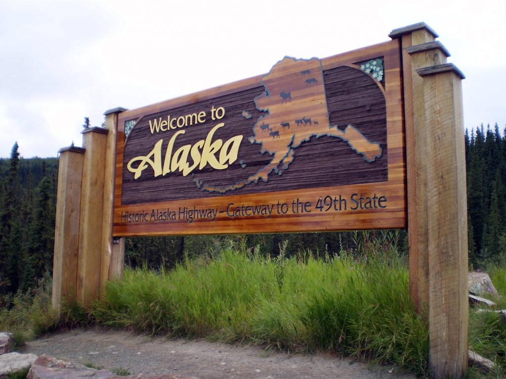 Alaskian highway sign