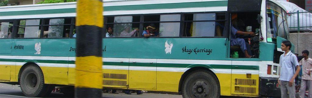 Blue line bus