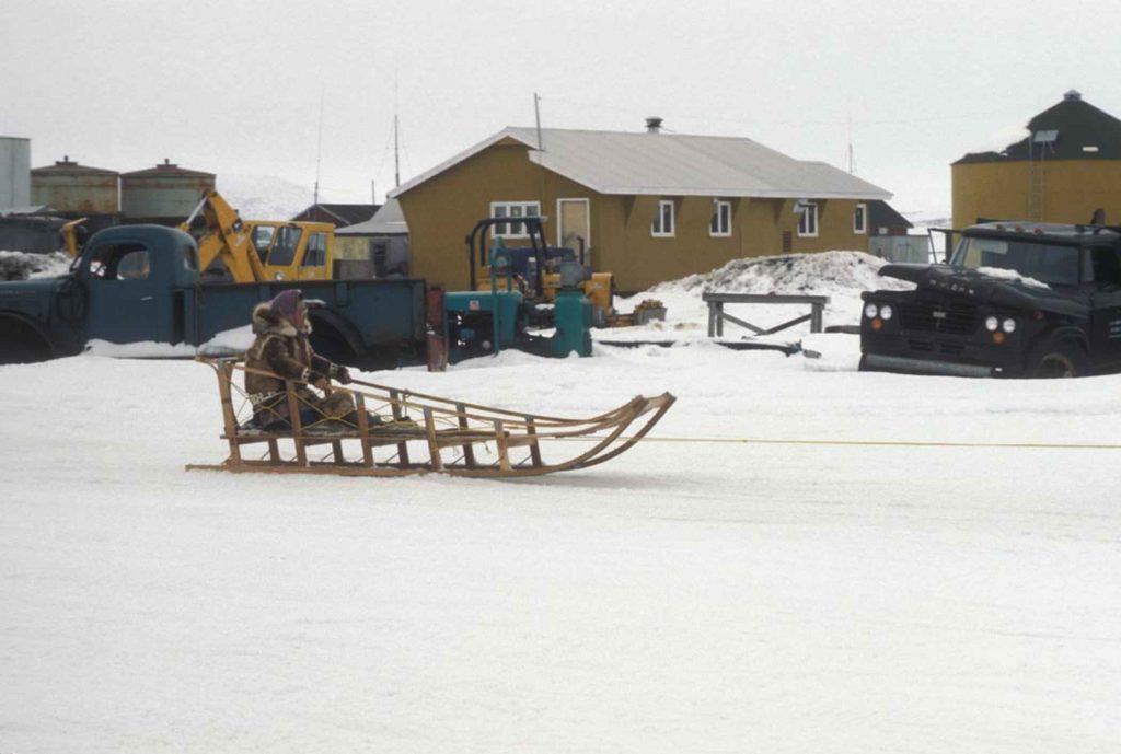 Native Alaskan woman in dog sled frame