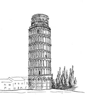 Leaning Tower of Pisa with a civil engineer.