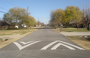 Speed hump on a residential street