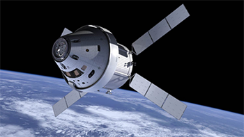 Orion's crew module and service module in space