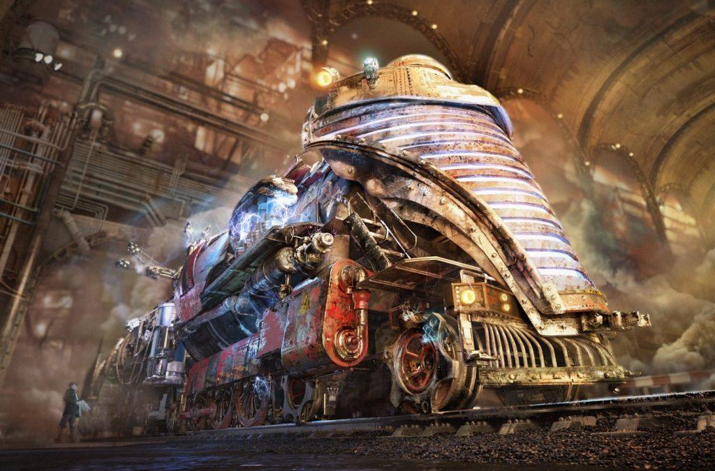 """Steampunk World"" steam train visualization done by Gleb Alexandrov"