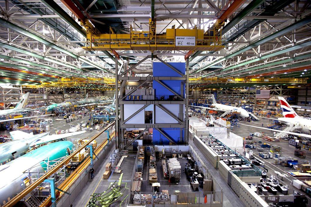 Boeing's Everett factory near Seattle, WA