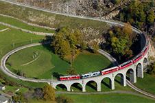 Spiral railroad tracks help trains travel through high altitudes