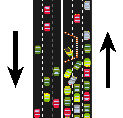 Example of a traffic bottleneck from a car accident