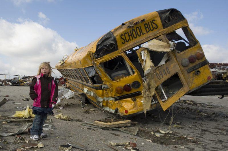 Even a school bus is no match for a tornado