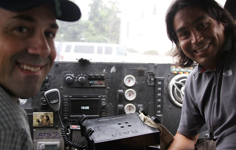 Sean Casey (left) and Marcus Gutierrez (TIV driver) inside TIV 2
