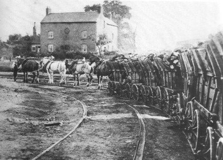 Horses pulling loaded coal waggons make one final delivery along The Little Eaton Gangway wagonway (open 1795–1908)