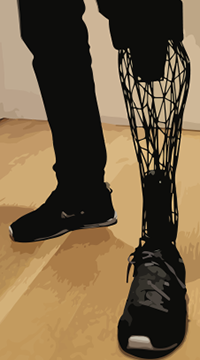 Prosthetic leg created by a 3D printer