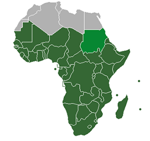 Sub-Saharan Africa is in dark green. Sudan is in lighter green, which is classified as part of North Africa by the UN