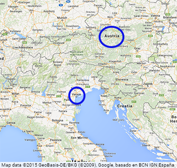 Distance between Venice and Austria