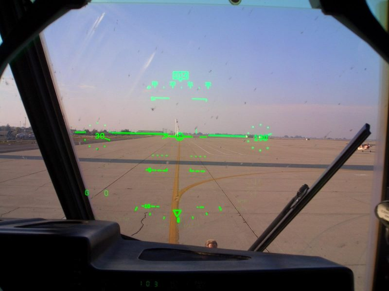 Heads-up display in a plane