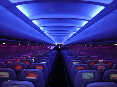 Mood lighting in an aircraft