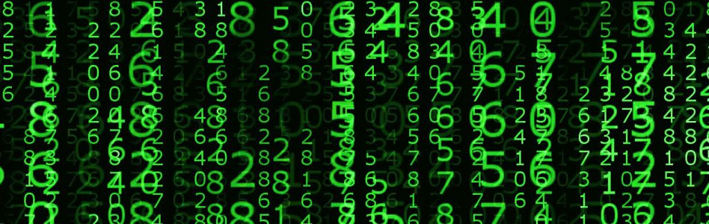 Green numbers on black background