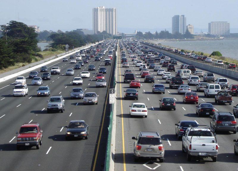 Freeway traffic in Los Angeles, California