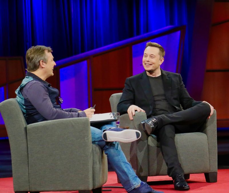 """Elon Musk giving his """"boring"""" TED talk in 2017"""