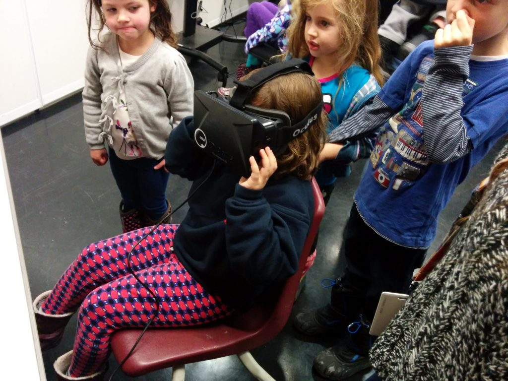 Kids try out the Oculus Rift