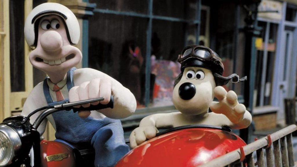 Wallace and Gromit take a ride. Screenshot from A Close Shave