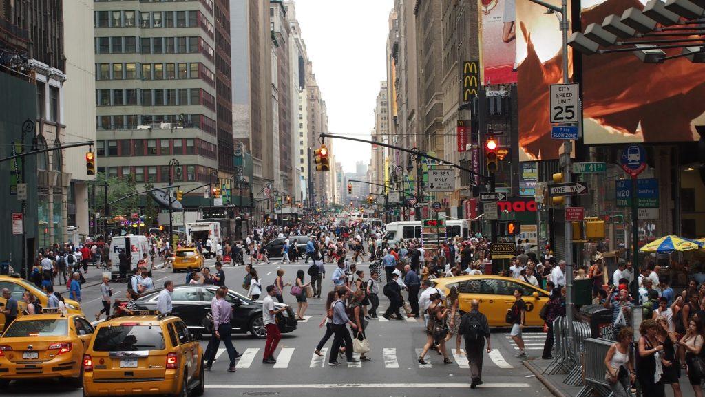 Pedestrian traffic in Manhattan, New York