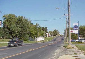 Four- to three-lane conversion in Osceola, Iowa