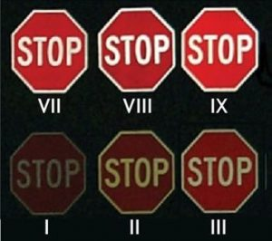 Relative visual comparison of stop signs with different grades of retroreflective sheeting