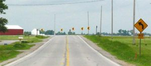 Oversized chevrons on US 6 in Johnson County, Iowa.