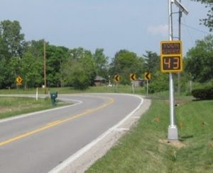 A speed display sign used in the seven-state study