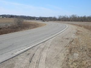 `Four-inch edgeline rumble stripe placement on a rural highway in Iowa