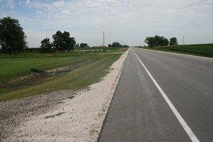 Paved shoulder on rural Iowa highway