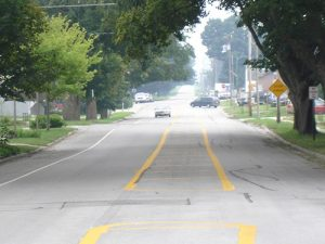 Use of pavement markings in Union, Iowa, as an alternative to raised medians