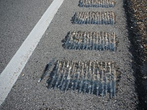 Close-up view of milled shoulder rumble strips